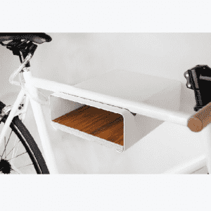 Minimalist metal white mutifunction bicycle rack
