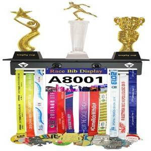 Metal trophy shelf with medal hanger