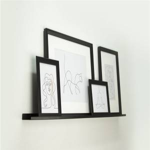 Metal wall shelf for picture frame