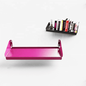 Floating metal bookshelf