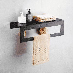 Metal bathroom shelf