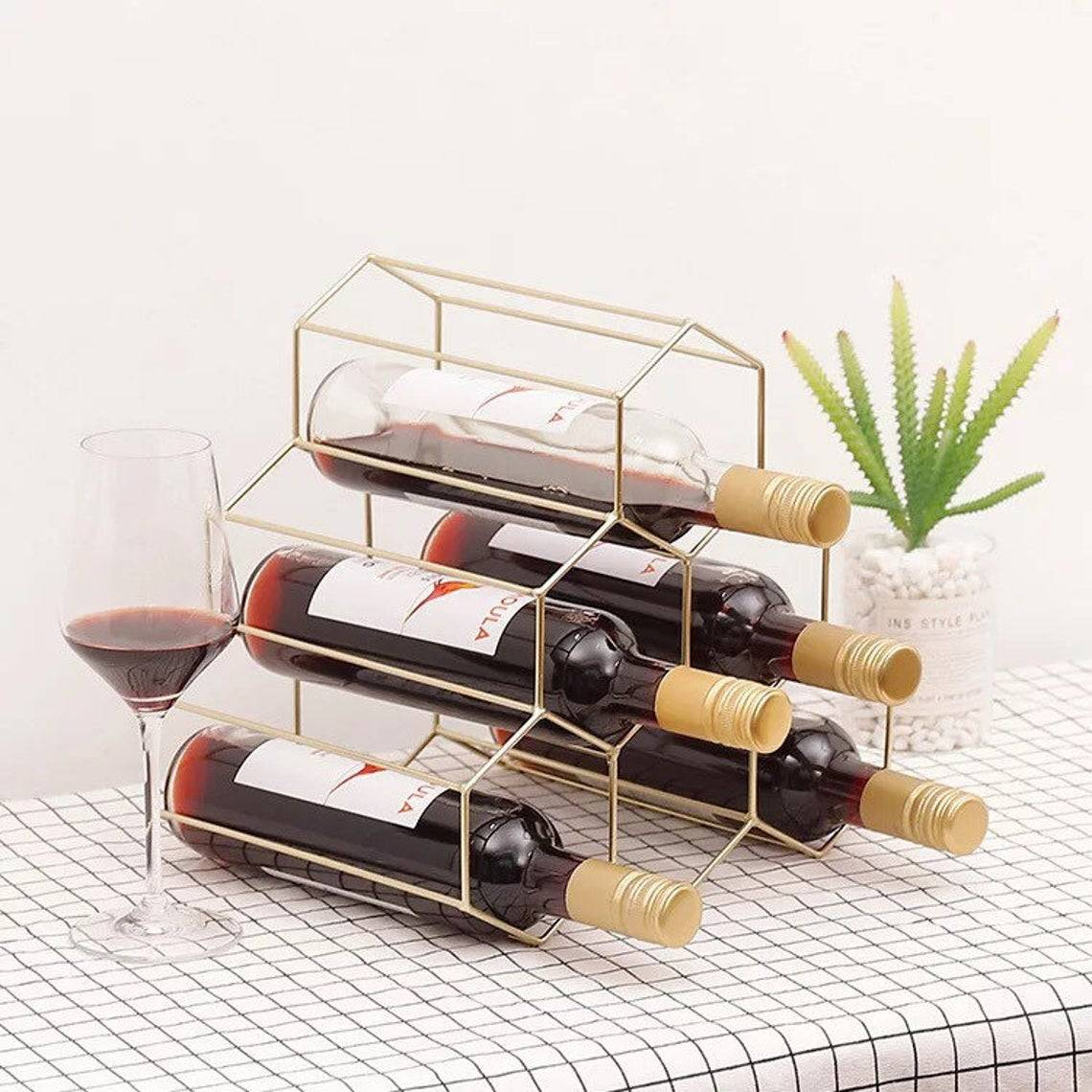 Creative Geometric Wine rack Metal Wine holder. Featured Image