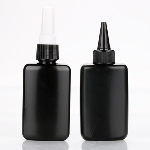 100ml cheap nail glue plastic containers unique shaped black color uv gel polish bottles