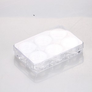 5g*6pcs cosmetic great value empty plastic small eye shadow cosmetic glitter clear loose powder container