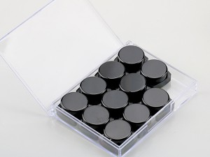 12pcs Powder Container Eye Shadow Jars Black Nail Gel Bottle Set