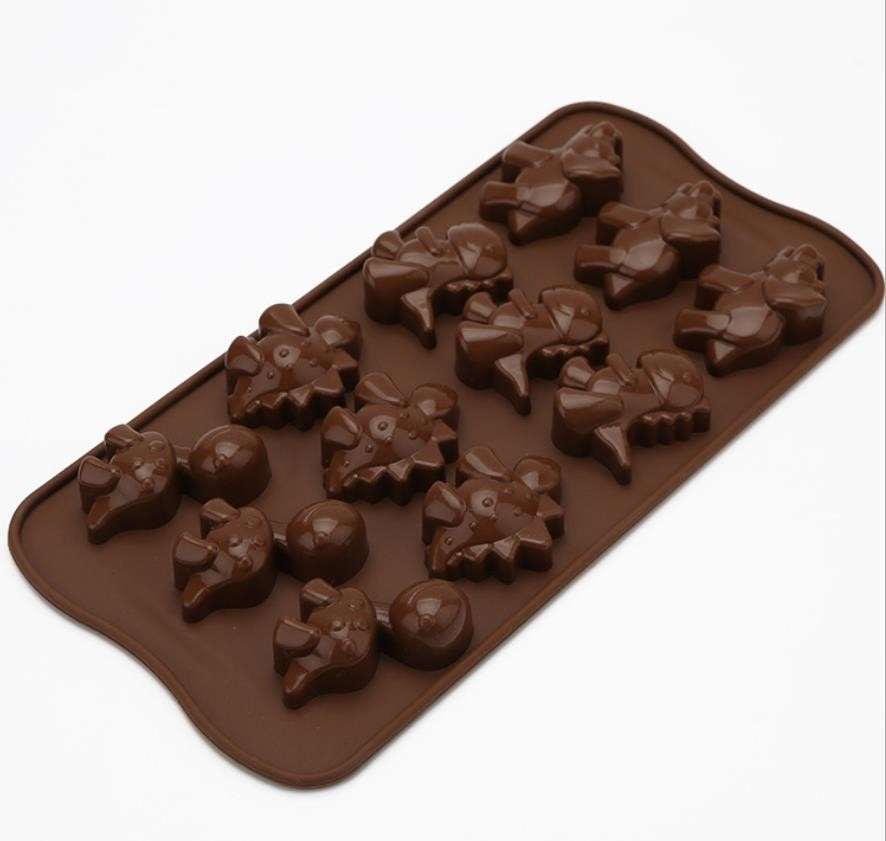 Dinosaur Holiday Silicone Chocolate Molds Brown Color Non Harmful