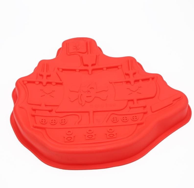 Food Grade Silicone Cake Molds , Silicone Cookie Molds Pirate Boat Shaped