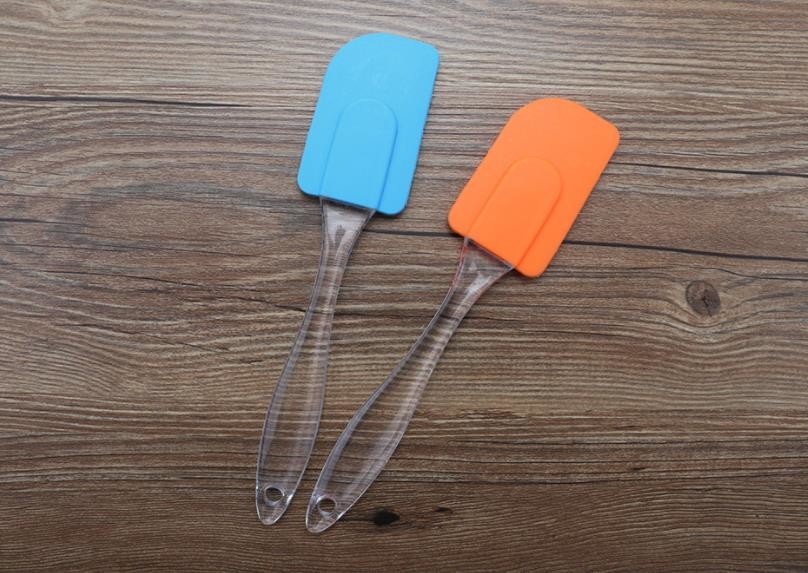 Food Grad Silicone Kitchen Utensils , Silicone Scraper Spatula With Transparent Oval Handle