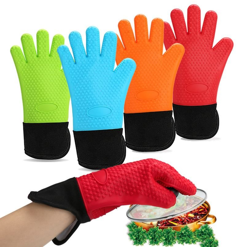 High Temp Long Side Opening Silicone Hand Gloves Sleeve Design Easy Cleaning