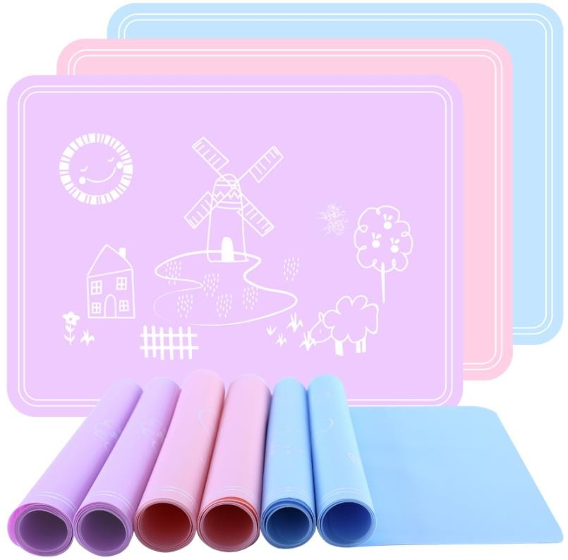Square Silicone Kids Product Mat , Silicone Placemat Plate Rollable
