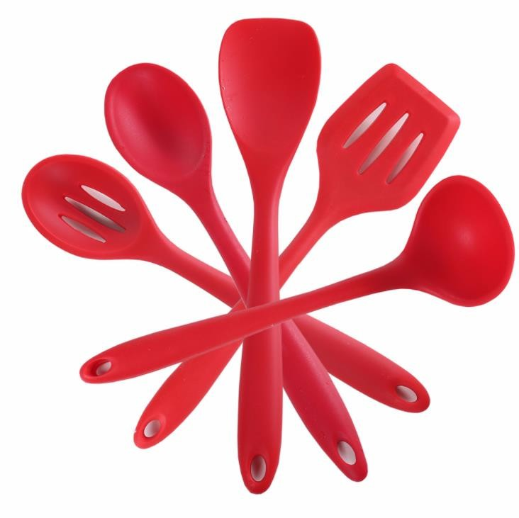 Food Grade Red color  Silicone Cooking Kitchen Tools Sets 5 different styles