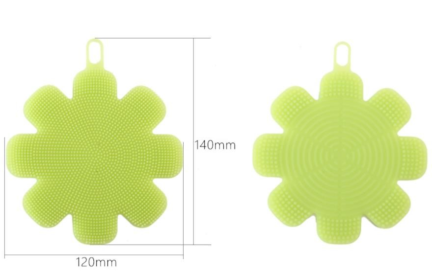 Flower shape Food Grade Silicone Washing Brush sponge  for Cleaning dishes and fruit