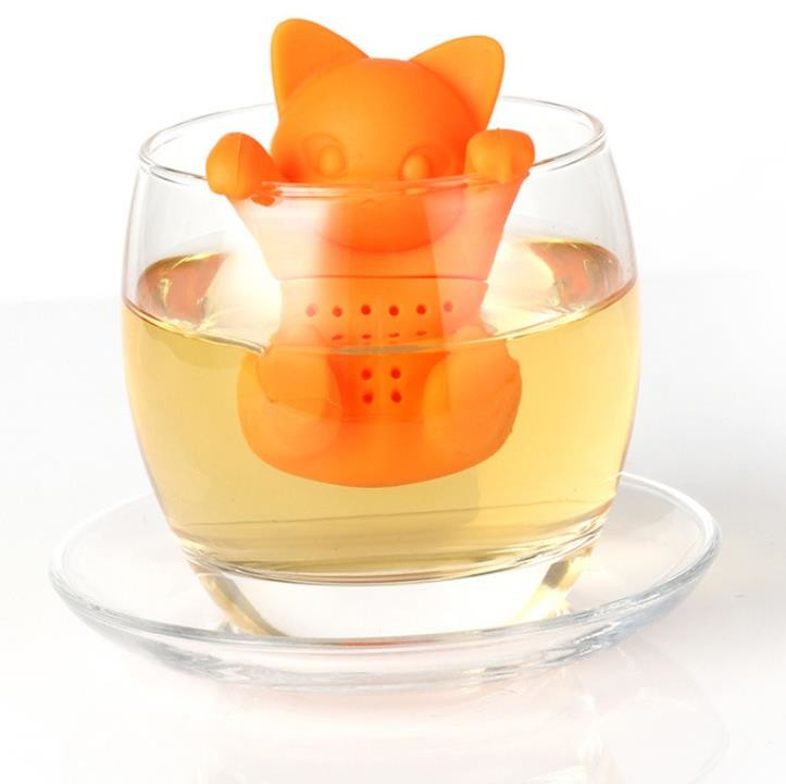 Orange Cat shaped Food Grade safe Silicone Tea Strainers BPR Free