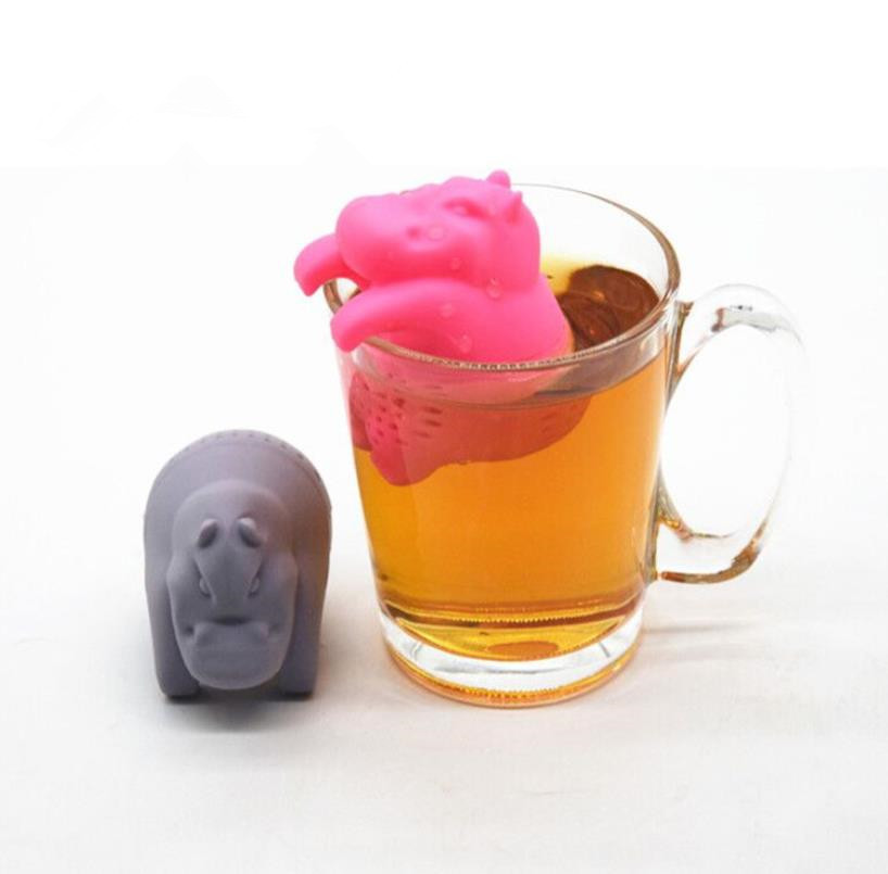 Grey Color  Hippo Shaped design Food Grade Silicone Tea Infuser