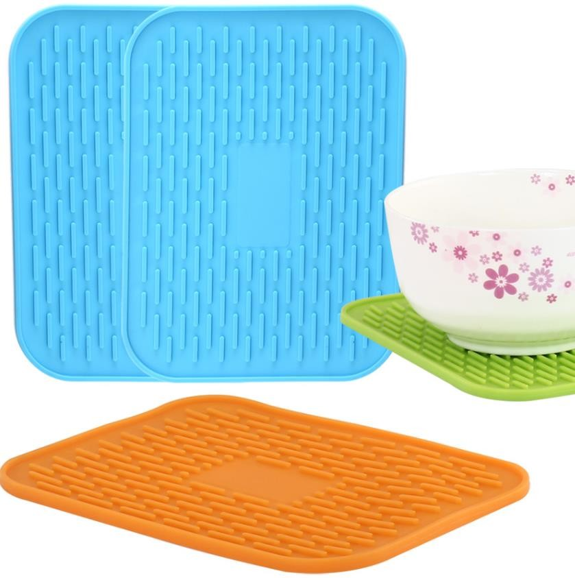 Rectangle Silicone Kitchen Tools , Silicone Baby Food Mat Heat Insulation