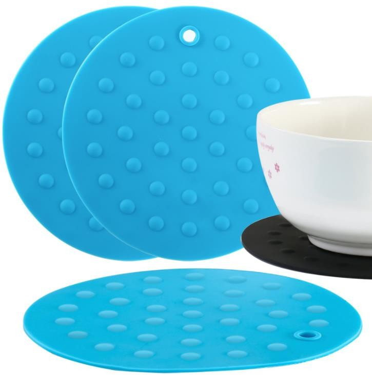 Round Rubber Cooking Utensils , Silicone Baking Mat  Embossed Dots Style
