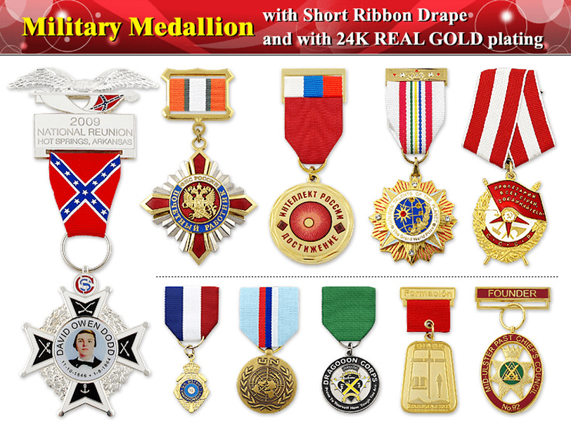Military Medal With Ribbon Drape