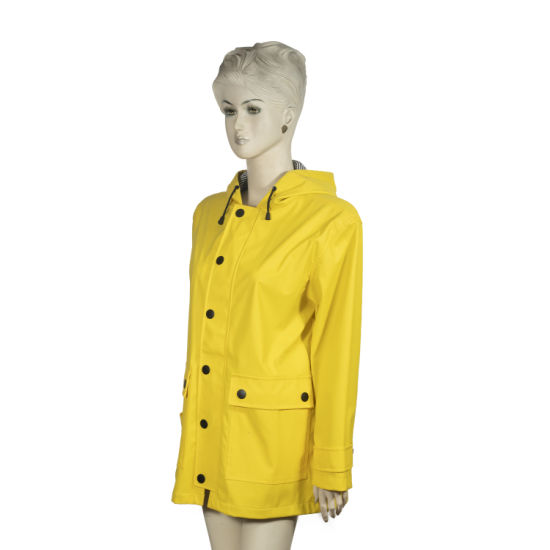 Reusable Custom Logo Polyurethane PU Rain Coat for Women Featured Image