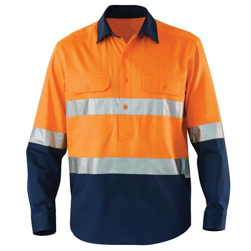 Fashion Cotton Reflective Workwear Breathable Navy Work Shirts with Reflective Tape