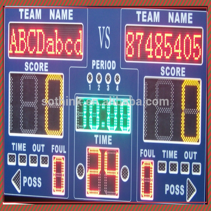 Convenient Transportation digital LED basketball electronic scoreboard with team name
