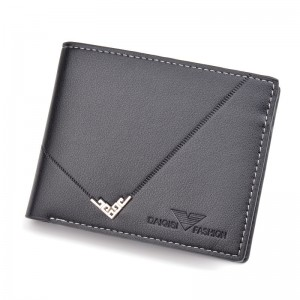 Fashion new ultra-thin wallet multi-card position 3 fold youth zipper horizontal business soft wallet