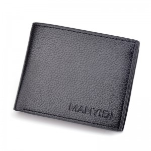 Men's driver's license thin wallet 3 fold horizontal business casual lychee retro soft wallet