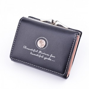Simple fashion ladies small wallet retro style flower short coin purse 3 folding wallet