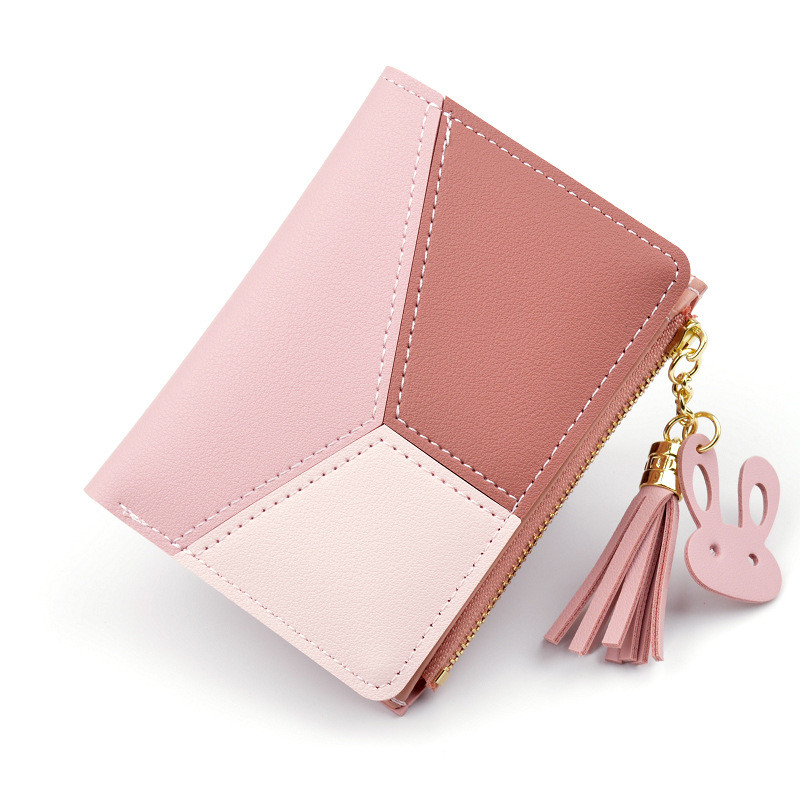 New Wallet Short Ladies Zipper Wallet Korean Splicing Tassel Coin Purse Card Holder Featured Image