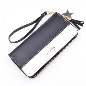 New ladies clutch bag wallet long simple contrast color stitching zipper wrist bag