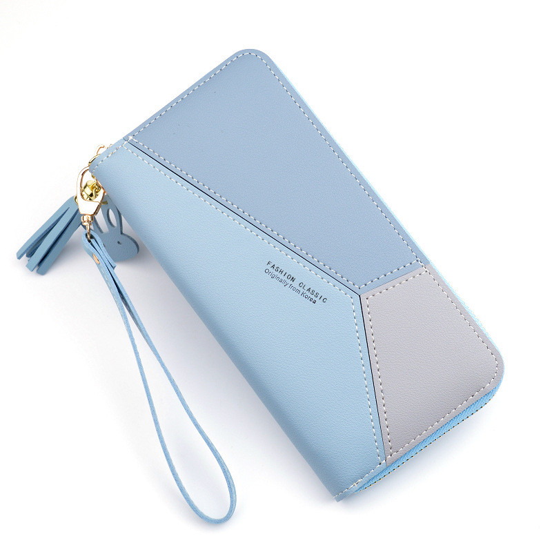 New ladies wallet clutch bag female long section Korean zipper contrast color tassel large capacity wallet mobile phone bag Featured Image