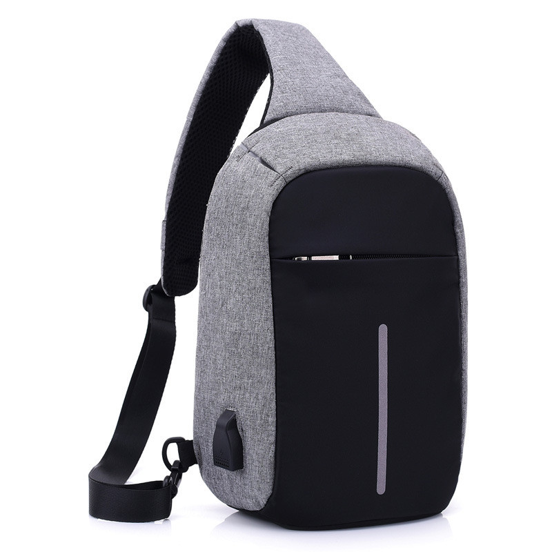 The new USB charging men's trend casual chest bag shoulder messenger bag Featured Image