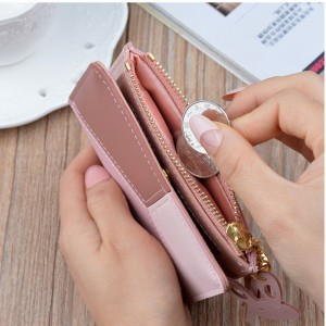 New Wallet Short Ladies Zipper Wallet Korean Splicing Tassel Coin Purse Card Holder