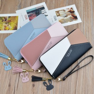 New ladies wallet clutch bag female long section Korean zipper contrast color tassel large capacity wallet mobile phone bag