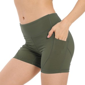 Women's Short Yoga Side Pockets High Waist Workout Running Shorts