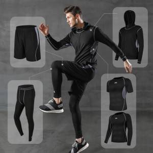 5pcs Men's Workout Clothes Outfit Fitness Apparel Gym Outdoor Running Compression Pants Shirt Top Long Sleeve Jacket