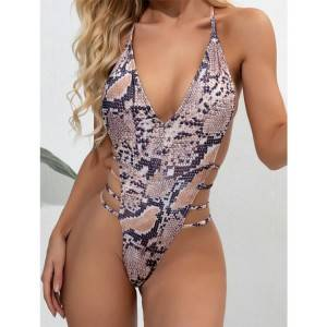 Women One Piece snake skin Swimsuit Bathing Suits High Leg Cutout Swimwear
