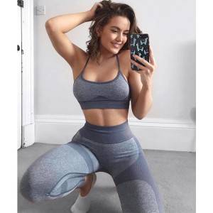 Workout Outfits for Women 2 Piece Yoga Wear High Waist Leggings Seamless Sports Bra Cross Back Tank Top