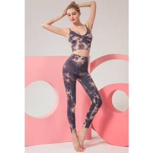 High quality new fashion female 2 piece yoga wear seamless tie dye active wear set for women