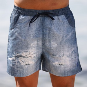 Stamgon denim drawstring swim trunks Mens surfing borad shorts with pockets
