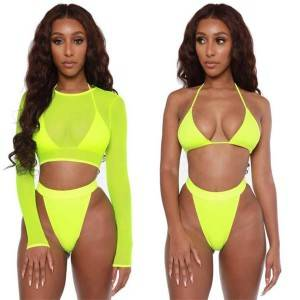 Women's Sexy High Waist Rash Guard Swimwear Long Sleeve 3PCS Swimsuit