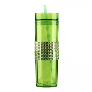 16oz Double wall  straight plastic tumber with straw customized design