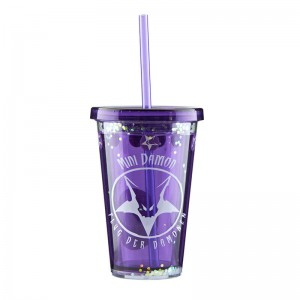 customized 12oz Double wall  plastic tumber with straw