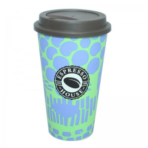 Customized 500ml plastic travel coffee mug with
