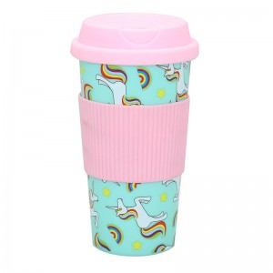 Customized 450ml travel coffee mug with silicone sleeve