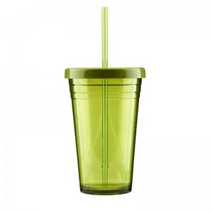 600ml single wall tumbler with straw