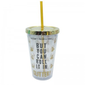 Customized 16oz Double wall plastic tumber with straw