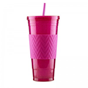 24oz Double wall plastic tumber with straw custom color