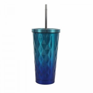 16oz vacuum insulated stainless steel double wall custom travel tumbler with straw