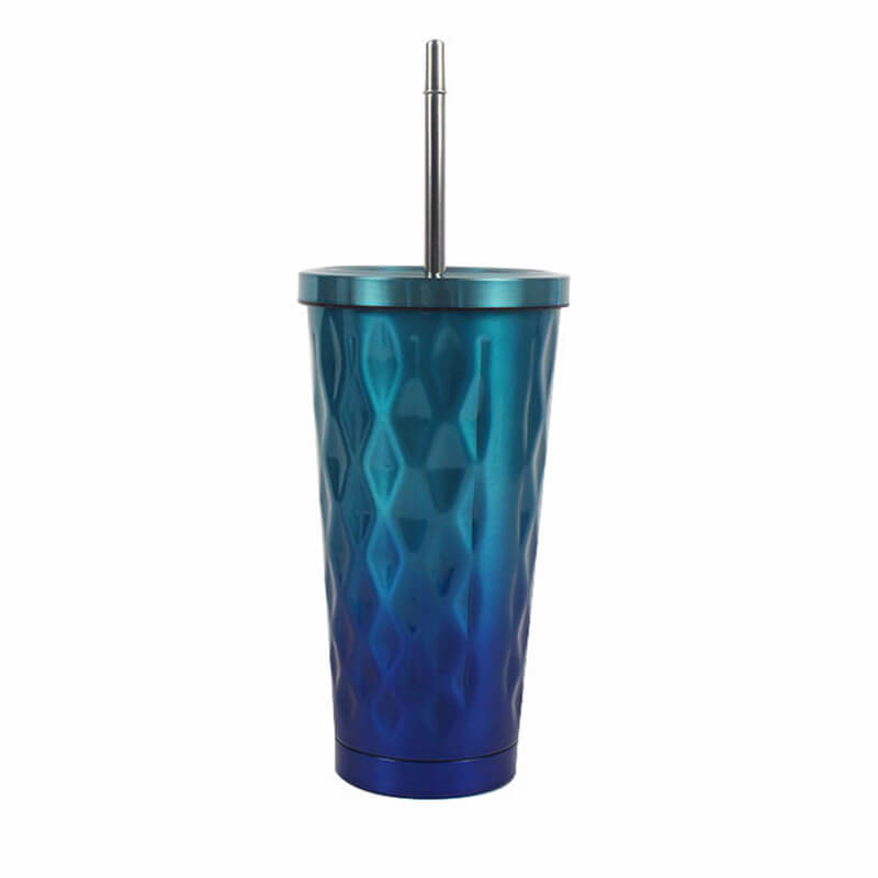 16oz vacuum insulated stainless steel double wall custom travel tumbler with straw Featured Image