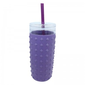 900ml plastic tumbler with silicone sleeve